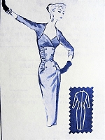 1950s BOMBSHELL Slim Dress Pattern MODES ROYALE 1445 Evening Cocktail Party Dress, Figure Show Off Stunning Design Bust 32 Vintage Sewing Pattern FACTORY FOLDED
