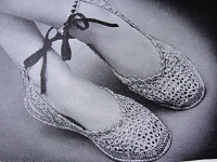 INSTANT PDF Vintage Crochet Pattern 1940s Shoes Ballet Flats Slippers Crocheted Sandal Perfect For Beach Summer