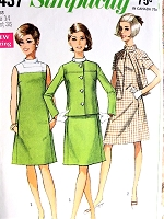 1960s MOD Color Block Dress and Jacket Pattern SIMPLICITY 7437 Bust 36 Vintage Sewing Pattern