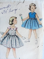 1950s CUTE Girl's Dress with Bow Simplicity 1108 Chest 24 Vintage Sewing Pattern