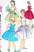1950s LOVELY Girls Party Dress Pattern SIMPLICITY 1145 Three Versions Party, Sundress and Jumper Size 10 Vintage Sewing Pattern