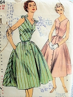 1950s EFFORTLESS Button Front Dress Simplicity 1164 Bust 32 Vintage Sewing Pattern