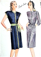 1940s SLEEK Dress and Dickey Pattern SIMPLICITY 1214 Easy Forties WW II Chic Front Button Dress Two Styles Bust 36 Vintage Sewing Pattern