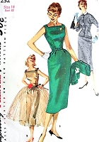 1950s DREAMY Evening or Day Dress Pattern SIMPLICITY 1232 Sq Neckline Sheath Dress With Overskirt and Fitted  Jacket, Detachable Collar Bust 32 Vintage Sewing Pattern