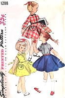 1950s ADORABLE Little Girls Toddlers Dress Pattern SIMPLICITY 1288 Sweet Styles Size 4 Vintage Childrens Sewing Pattern