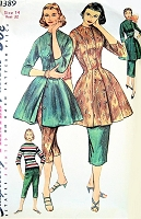 1950s FAB Tunic with Straight Skirt or Cigarette Capri Pants Day or Glamorous Evening Lounging Pattern SIMPLICITY 1389 Casual or Sleek Hostess Ensemble Bust 32 Vintage Sewing Pattern  FACTORY FOLDED