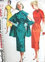 1950s FAB Cheongsam Oriental Sheath Dress and Stole Pattern SIMPLICITY 1447 Day or Evening Dress Bust 32 Vintage Sewing Pattern