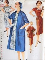1950s CHIC Dress with Detachabled Neck and Sleeve Trim, Coat Vintage Simplicity Pattern 1458 Bust 34