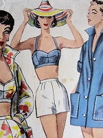 1960s EFFORTLESS Swim Suit or Play Suit and Jacket Simplicity 1659 Vintage Sewing Pattern Bust 32