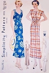 1930s GORGEOUS Wrap Dress Pattern SIMPLICITY 1773 NRA 30s Summer Resort Sundress 2  Amazing Styles Bust 32 Vintage Sewing Pattern