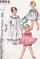1950s SWEET Girls Nightgown, Baby Doll Shortie PJs with Panties Sleepwear Pattern Simplicity 1864 Size 5 Vintage Sewing Pattern