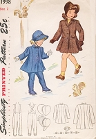 1940s ADORABLE Little Girls Toddlers Princess Coat,Leggings and Bonnet Hat Pattern SIMPLICITY 1998  Size 2 Vintage Sewing Pattern