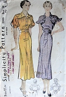1930s STUNNING Dress in Two Styles Simplicity 2086 Bust 38 Vintage Sewing Pattern