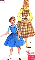 1950s CUTE Girls Jumper Dress and Blouse Pattern SIMPLICITY 2204 Simple To Make Size 12 Vintage Childrens Sewing Pattern