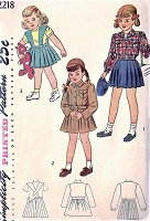 CUTE 1940s Little Girls Toddler Lumber Jacket and Sweet Suspender Skirt Pattern SIMPLICITY 2218 Childrens Size 3 Vintage Sewing Pattern