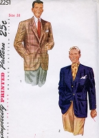 1940s CLASSY Mens Jacket Blazer Pattern SIMPLICITY 2251 Gentlemens Jacket 2 Styles Chest 38 Vintage Sewing Pattern