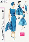 1950s Cocktail Party Evening Dress Pattern SIMPLICITY 2370 Sheath, Overskirt and Jacket Bust 32 Vintage Sewing Pattern