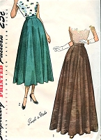 1940s BEAUTIFUL Full Skirt Day or Evening Length SIMPLICITY 2461 Waist 28 Vintage Sewing Pattern UNCUT