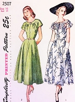 1940s LOVELY Day or Party Dress Pattern SIMPLICITY 2507 Bust 32 Vintage Sewing Pattern