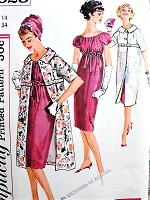 1950s CHIC Cocktail Party Empire Slim Dress and Coat Pattern SIMPLICITY 2828 Lovely Figure Flattering But 34 Vintage Sewing Pattern FACTORY FOLDED