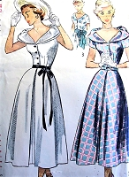 1940s BEAUTIFUL Decollette Neckline Dress Pattern SIMPLICITY 2888 Lovely Day or Party Dress Bust 32 Vintage Sewing Pattern