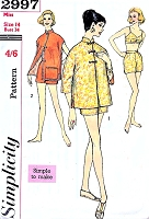 1950s FABULOUS BeachWear Pattern SIMPLICITY 2997 Two Pc SwimmingSuit Bra Shorts, Cheongsam Jacket Beach Cover Up Bust 34 Vintage Sewing Pattern UNCUT