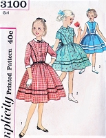 1950s CUTE Girls Dress Pattern SIMPLICITY 3100 Three Adorable Styles Size 7 Vintage Childrens Sewing Pattern