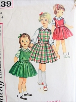 1960s CUTE Little Girls 2 Pc Jumper Dress and Blouse Pattern SIMPLICITY 3139 Toddlers  Adjustable For Growing Size 4 Childrns Vintage Sewing Pattern