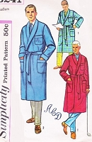1950s CLASSIC Mens Robe Lounging Robe BathRobe Pattern SIMPLICITY 3241 Includes Alphabet Transfer Size Medium Vintage Sewing Pattern