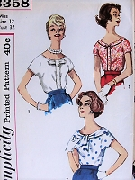 1950s CHARMING Blouse Set Simplicity 3358 Bust 32 Vintage Sewing Pattern