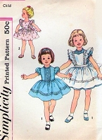 1960s ADORABLE Little Girls Dress and Pinafore Pattern SIMPLICITY 3379 Cute Styles Toddler Size 2 Childrens Vintage Sewing Pattern