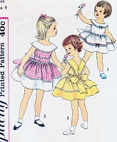 1950s SWEET Little Girls Toddler Party Sun Dress Pattern SIMPLICITY 3458 Size 4 Vintage Sewing Pattern