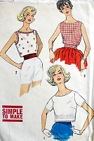 1960s FUN Retro Top or Blouse Sewing Pattern Simplicity 3480 Bust 32
