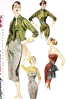 1950s  FAB Day or Evening Dress Pattern SIMPLICITY 3684 Strapless 2 Pc Dress Sheath Skirt Camisole Strapless Top Jacket Vintage Sewing Pattern UNCUT