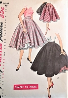 1950s FLIRTY Circle Skirt  and Petticoat Slip Pattern SIMPLICITY 3813 Full Rockabilly Skirt , Flared Petticoat Simple to Make Waist 26 Vintage Sewing Pattern