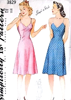 1940s PIN UP Bias Slip Simplicity 3829 Bust 34 Vintage Sewing Pattern Lingerie