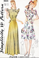 1940s WW II BEAUTIFUL Evening or Daytime Dress Pattern SIMPLICITY 3835 Figure Flattering Designs Bust 34 Vintage Forties Sewing Pattern