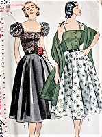 1950s BEAUTIFUL Blouse, Bodice, Skirt and Stole Pattern SIMPLICITY 3856 Two Eyecatching Styles Bust 32 Vintage Sewing Pattern