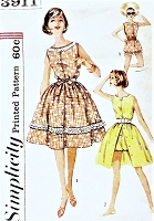 1950s CUTE Playsuit and Skirt Pattern SIMPLICITY 3911 Beachwear Resort Wear Bust 36 Vintage Sewing Pattern UNCUT
