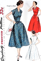 1950s EASY To Make Wrap Dress Pattern SIMPLICITY 3945 Three Versions Bust 35 Vintage Sewing Pattern UNCUT