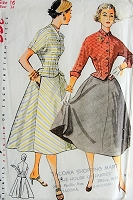 1950s CLASSIC Two Piece Suit Dress Simplicity 3946 Sewing Pattern Bust 34