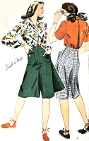 1940s SPORTY Culottes Divided Skirt and Tailored Blouse Very Kate Hepburn Pattern SIMPLICITY 4214 Bust 38 WW II Vintage Sewing Pattern