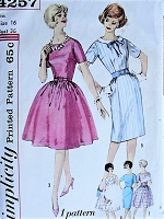1960s CHARMING Dress in Five Styles Simplicity 4257 Bust 36 Vintage Sewing Pattern