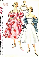 1950s LOVELY Evening Cocktail Party Prom Dress and Stole Pattern SIMPLICITY 4302 Straps or Strapless Full Skirt Dress Bust 34 Vintage Sewing Pattern