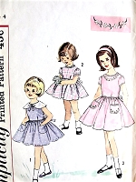1960s SWEET Little Girls Dress Pattern SIMPLICITY 4325 Three Adorable Styles Day or Party Dresses Size 4 Vintage Childrens Sewing Pattern