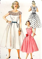1950s LOVELY Day or Party Dress Pattern SIMPLICITY 4328 Round Yoke Sun or Cocktail Dress Bust 29 Vintage Sewing Pattern FACTORY FOLDED