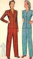 1940s War Time PANT SUIT Pattern SIMPLICITY 4407 Rosie Riveter Slacks Suit Bust 36 WWII Era Vintage Sewing Patterns