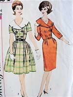 1960s LOVELY Slim or Softly Pleated Skirt Dress Pattern SIMPLICITY 4524 Detachable Collar, Two Looks  Day or Cocktails Bust 36 Vintage Sewing Pattern