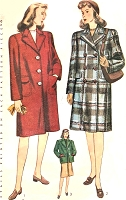 1940s Boxy Coat or Car Coat Jacket Pattern SIMPLICITY 4563  Single or Double Breasted Classic Forties Coat Bust 36 Vintage Sewing Pattern