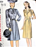 1940s Stylish Dress Pattern SIMPLICITY 4809 Two War Time WW II Styles Bust 38 Vintage Sewing Pattern